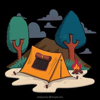 숲에서 손으로 그린 캠핑 텐트