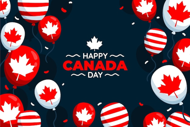Hand drawn canada day balloons background