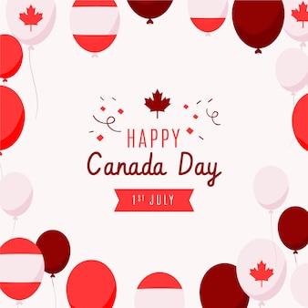 手描きのカナダの日風船の背景