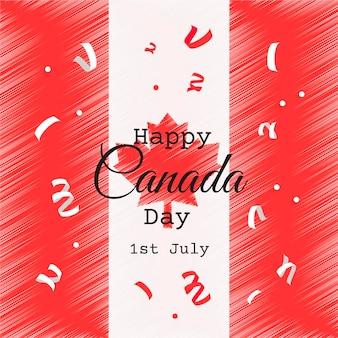 손으로 그린 캐나다의 날 축하 그림