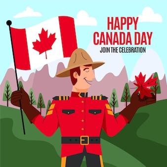手描きのカナダの日のイラスト