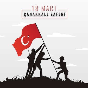 Hand-drawn canakkale illustration with soldiers and flag