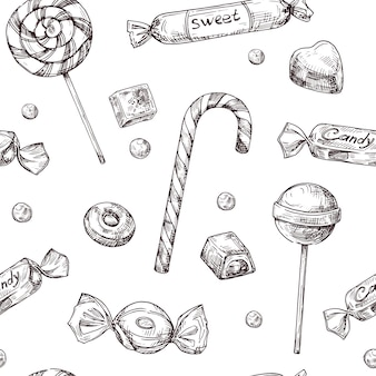 Hand drawn candies pattern
