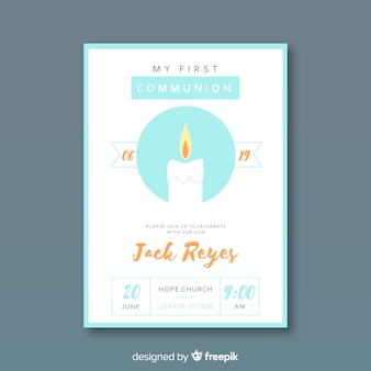 Hand drawn candle first communion invitation