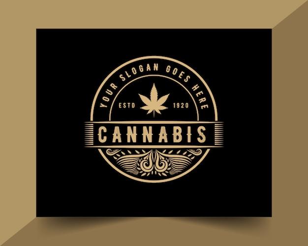会社の黄金のスタイルの色で手描き大麻ヴィンテージ高級スタイルのロゴのテンプレート