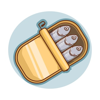 Illustrazione disegnata a mano di sardine in scatola