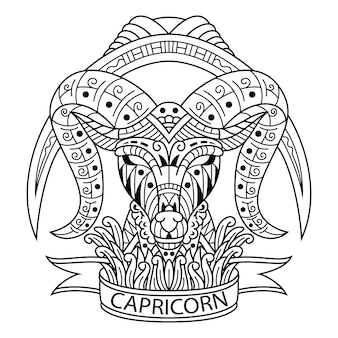 Hand drawn of capricorn in zentangle style