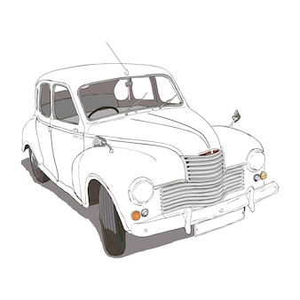 Hand drawn car. retro hand sketched car illustration.