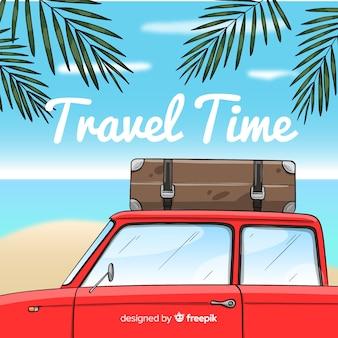 Hand drawn car travel background