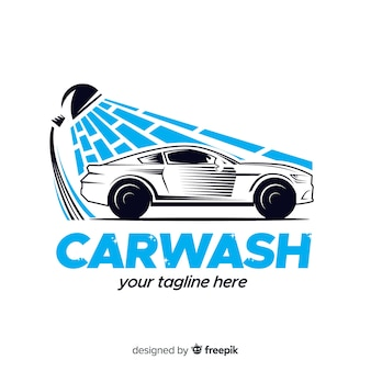Hand drawn car wash logo background