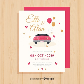 Hand drawn car wedding invitation template