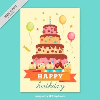 큰 생일 케이크와 함께 손으로 그린 카드