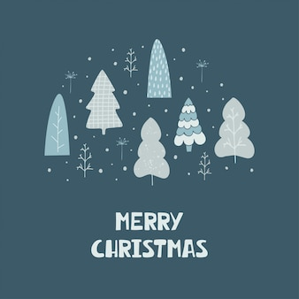 Hand drawn card with christmas trees and lettering merry christmas
