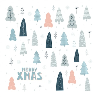 Hand drawn card with christmas trees and lettering merry xmas