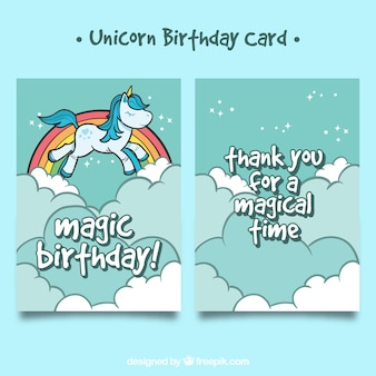 Hand drawn card with flying unicorn