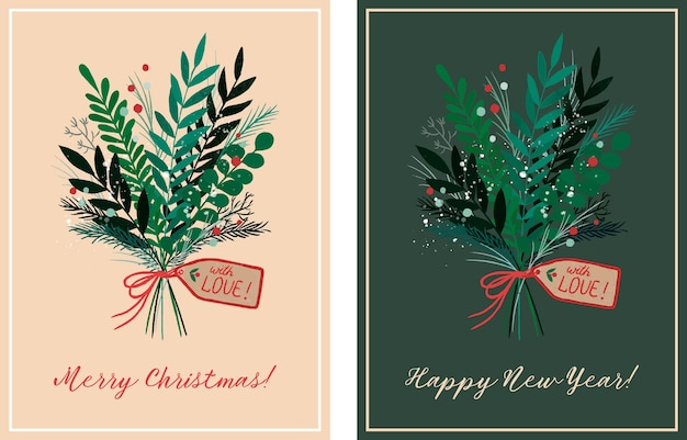 Hand drawn cards for christmas with flower bouquet