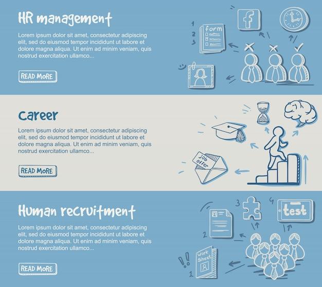 Рука нарисованные горизонтальные баннеры развития карьеры