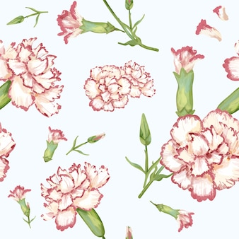 Hand drawn carnation pattern background