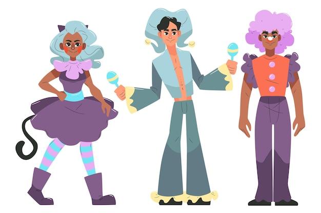 Коллекция рисованной карнавальных персонажей