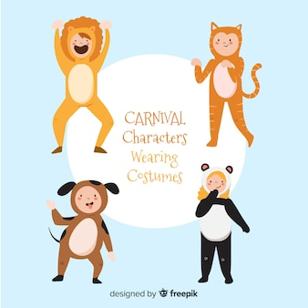 Hand drawn carnival characters wearing costumes