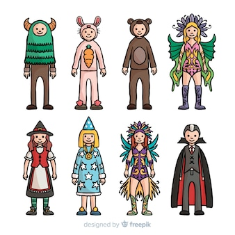 Hand drawn carnival costume collection