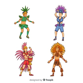 Hand drawn carnival dancer collection
