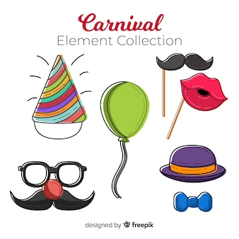 Hand drawn carnival element collection