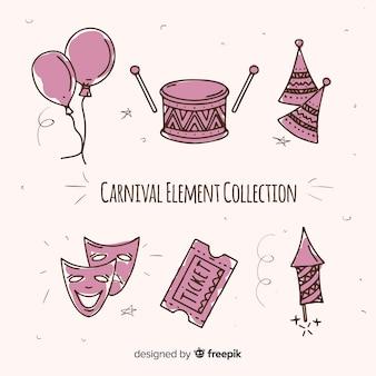 Hand drawn carnival elements set