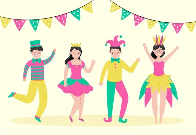 Набор рисованной карнавальных счастливых персонажей