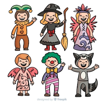 Hand drawn carnival kids costume collection