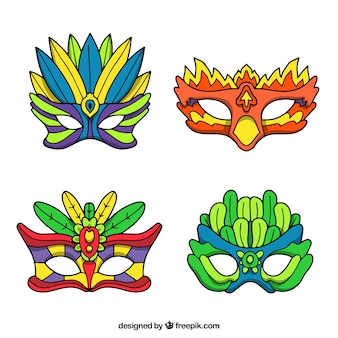 Hand drawn carnival mask collection