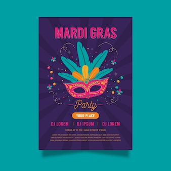 Hand drawn carnival mask poster template