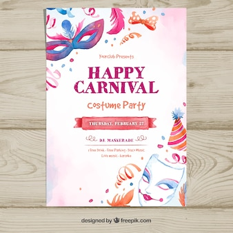 Hand drawn carnival party flyer template