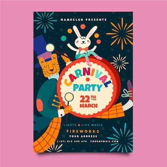 Hand-drawn carnival party poster template