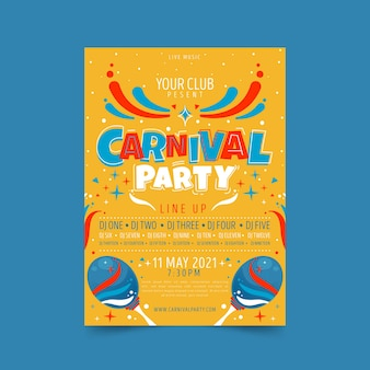 Hand drawn carnival party poster with maracas