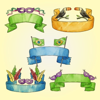 Hand  drawn carnival ribbons pack