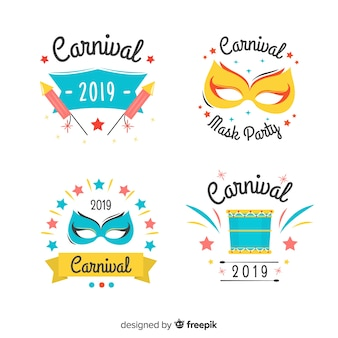 Hand drawn carnival stickers set