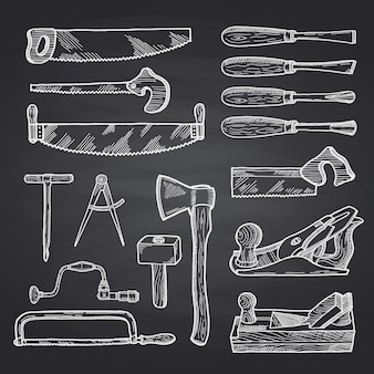 Hand drawn carpentry on black chalkboard