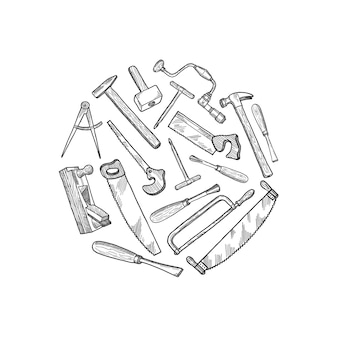 Hand drawn carpentry elements illustration