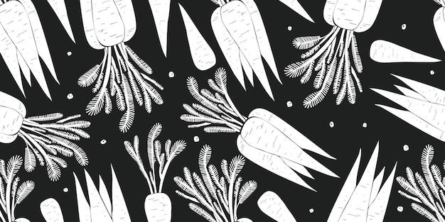手描きのニンジンのシームレスなパターン。有機漫画の新鮮な野菜のイラスト。