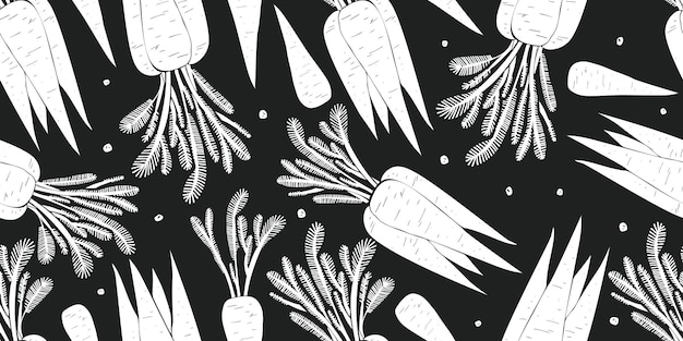 Hand drawn carrot seamless pattern. organic cartoon fresh vegetable illustration.