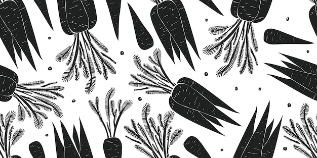 手描きのニンジンのシームレスなパターン。