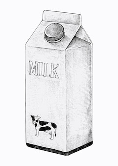 ミルクの手描きのカートン