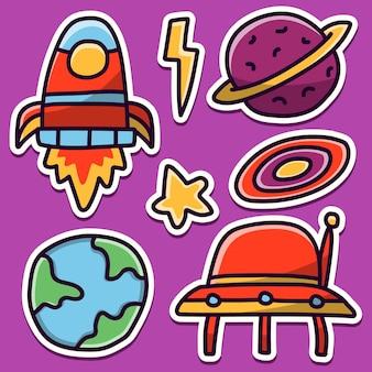 손으로 그린 만화 우주 비행사 귀엽다 낙서 스티커 디자인