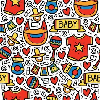 손으로 그린 만화 아기 낙서 패턴