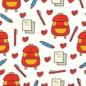 手描きの漫画を学校に戻る落書きパターンデザイン