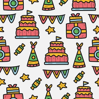 Hand drawn cartoon birthday seamless pattern