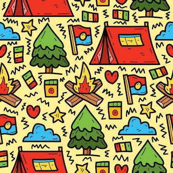 Hand drawn cartoon camper cute doodle pattern