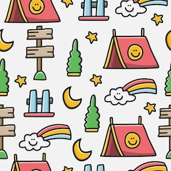 Hand drawn cartoon camper doodle pattern design