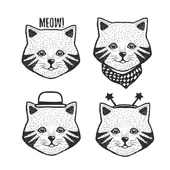 Hand drawn cartoon cat head prints set
